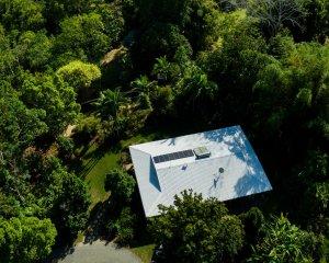 Freshwater swimming pool nestled in the garden